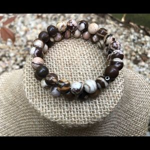 Natural Zebra Stone Bead Wrap Bracelet